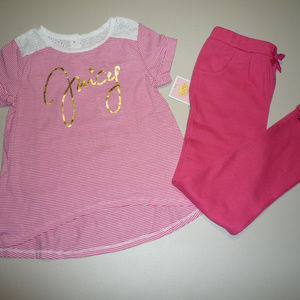 Juicy Couture Girls Pink & White 2pc Set ~ 6X